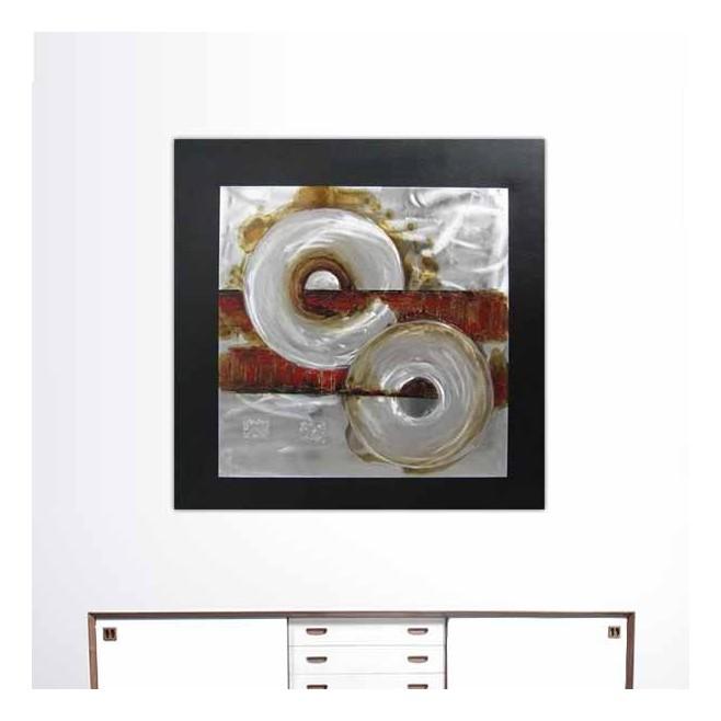 Peinture industrielle abstraite rouge 80 x 80 cm - Peinture carre couleur ...