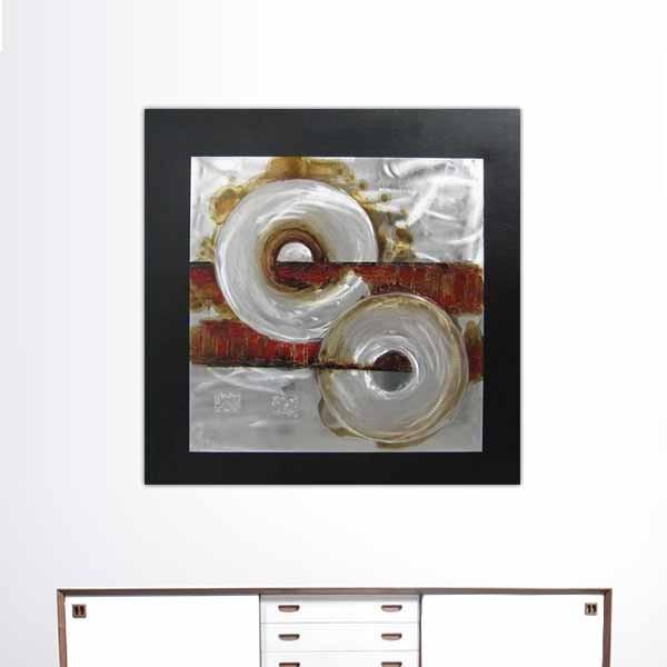 peinture industrielle abstraite rouge 80 x 80 cm. Black Bedroom Furniture Sets. Home Design Ideas