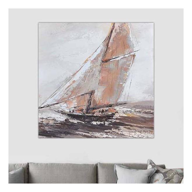 tableau bateau toile de marine 80 x 80 cm. Black Bedroom Furniture Sets. Home Design Ideas