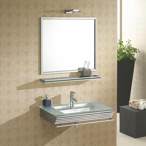 Ensemble salle de bain verre blanc opal for Tablette salle de bain