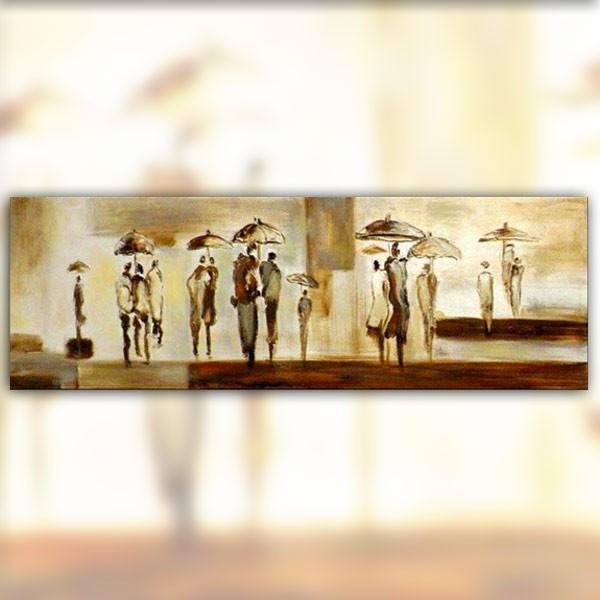 Peinture contemporaine pluie 152 x 51 cm - Grand tableau contemporain ...