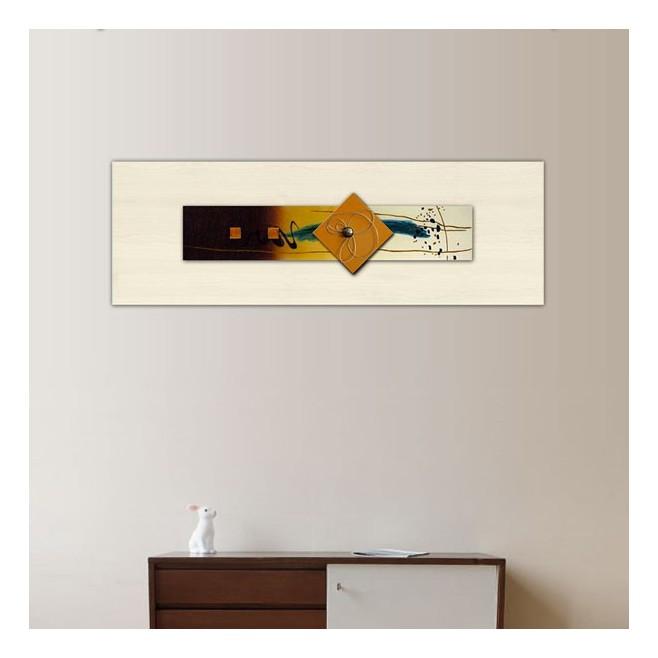 Composition abstraite peinture jaune et verre