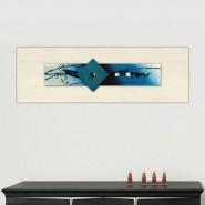 Peinture abstraite sur verre bleue