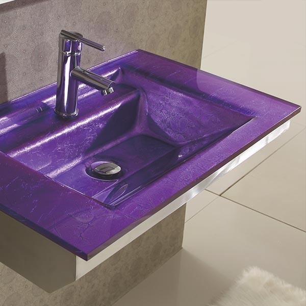 Lavabo verre prune emerald wikao maison et design for Lavabo en verre salle de bain