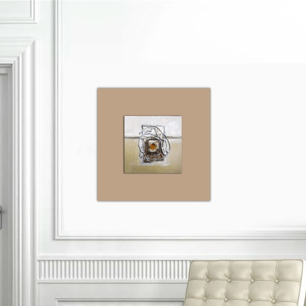 Tableau abstrait marron perle