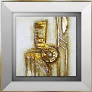 tableau abstrait carton doré