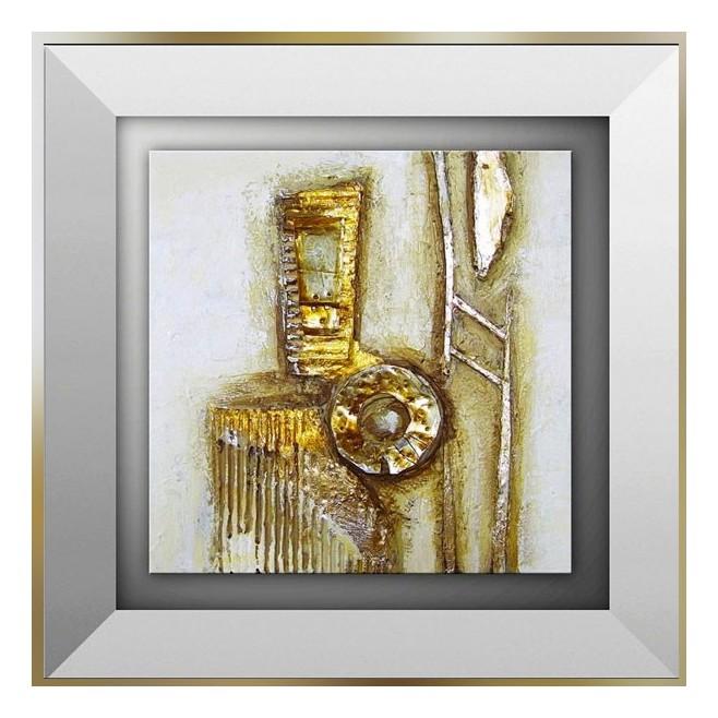 Tableau abstrait or et carton 45 x 45cm - Peinture carre couleur ...
