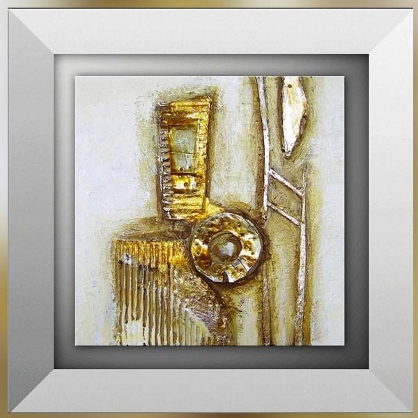 Tableau Abstrait Or Et Carton 45 X 45cm