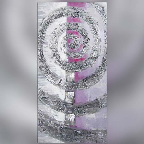 Tableau design m tal et mauve format 60 x 120 cm for Peinture argentee murale