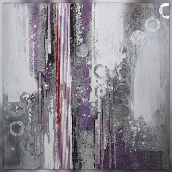Tableau abstrait parme toile design 100 x 100 - Tableau gris et blanc ...
