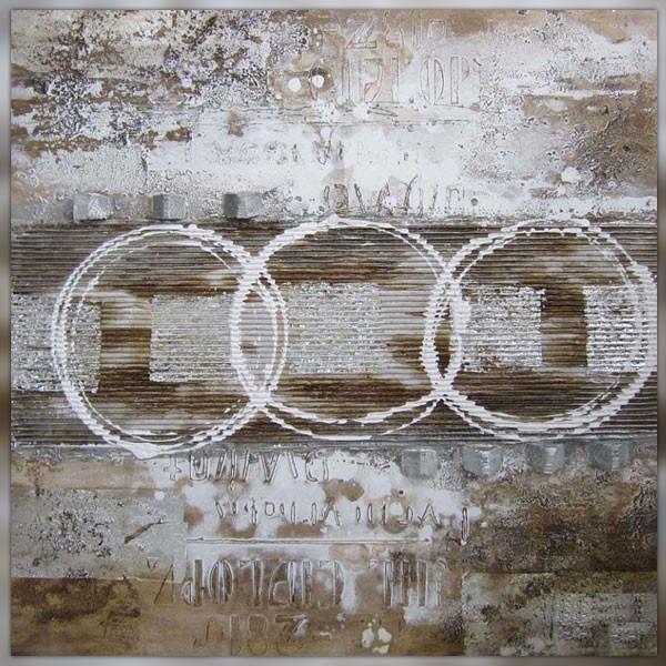 Tableau design fa on rauschenberg 100 x 100 cm - Peinture style industriel ...
