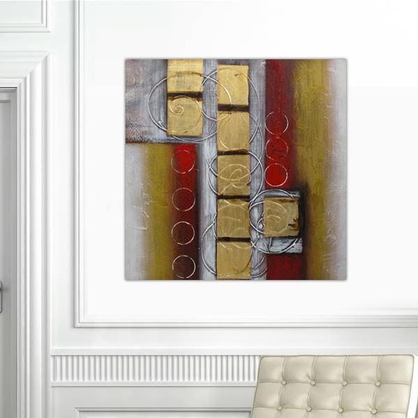 Peinture carrés d'or et rouge