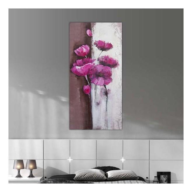 Peinture de roses sur tableau vertical tableau fleuri for Peinture murale rose