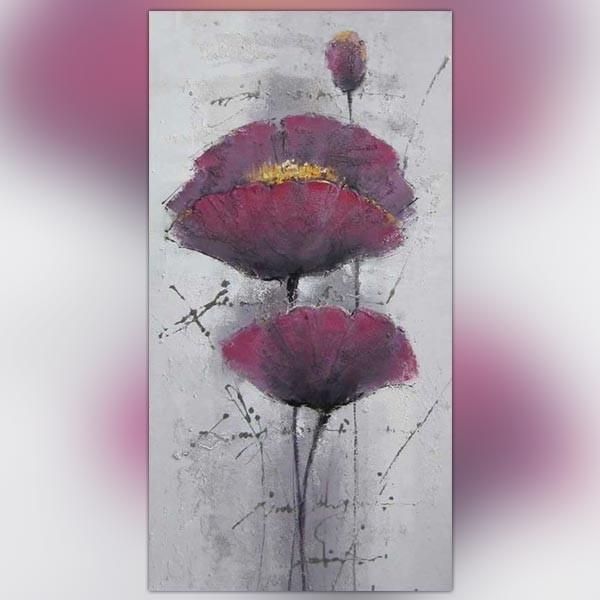 Peinture pavot violet toile de fleur 60x120cm for Peinture gris violet