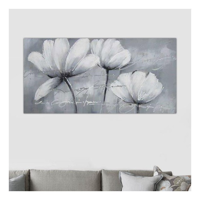 peinture de fleurs des champs tableau floral blanc. Black Bedroom Furniture Sets. Home Design Ideas