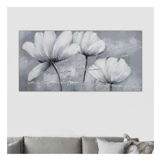 Peinture de fleurs des champs tableau floral blanc - Tableau noir et blanc design ...