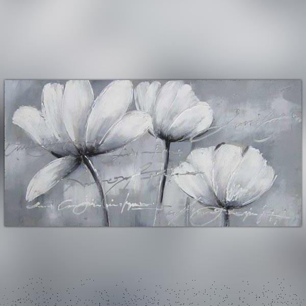 Peinture de fleurs des champs tableau floral blanc - Tableau triptyque fleurs blanches ...