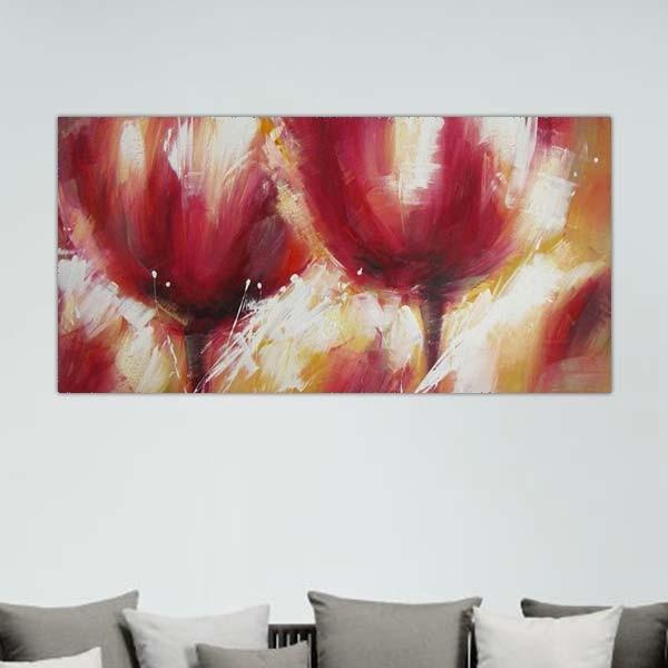 Peinture fleurs rouge passion