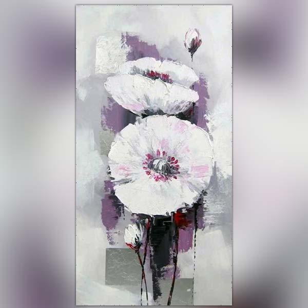 Salle De Bain Blanche Et Noire : … peinture > Peinture fleur > Toile fleur blanche style renoncule