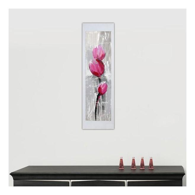 Peinture de fleur rose sur feuille d'aluminium