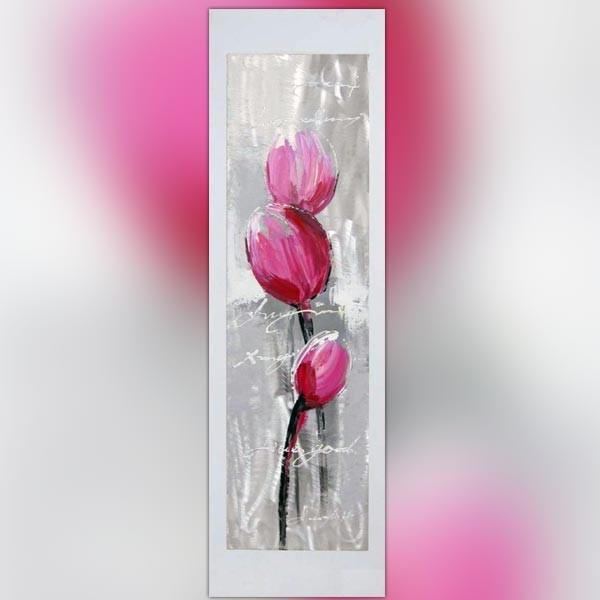 Peinture de fleur sur feuille alu 40 x 120 cm wikao - Tableau rose et gris ...