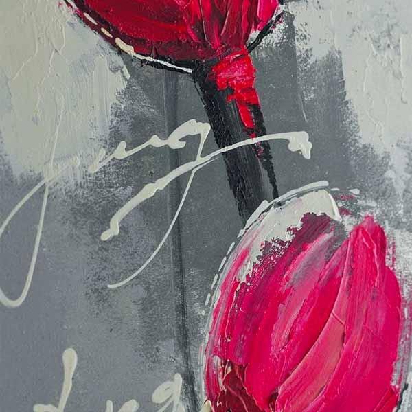 Peinture De Fleur Sur Feuille Alu, 40 X 120 Cm : Wikao