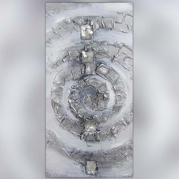 Tableau spirale argent e composition design for Peinture murale argentee