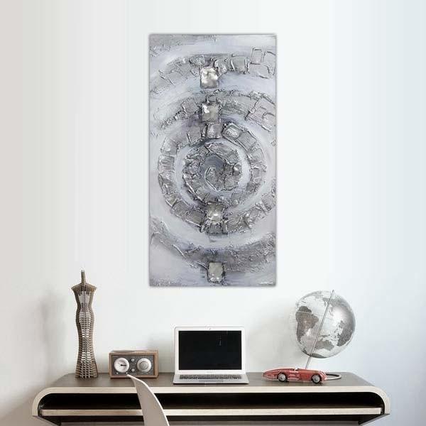 Tableau spirale argent e composition design for Peinture argentee murale
