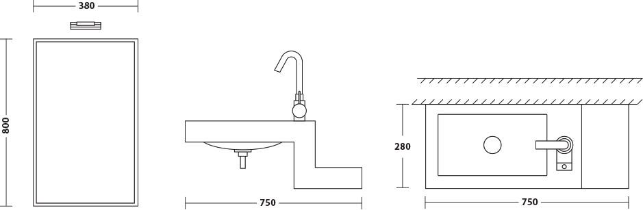 Schéma montage lavabo verre noir Tonic