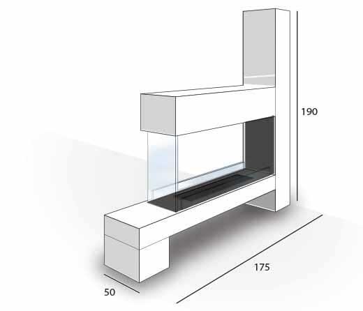 Dimensions cheminée éthanol Montecarle